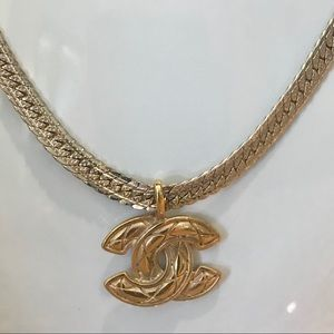 Auth Chanel CC Gold Plated Pendant w/ Necklace